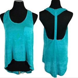 Poof Green Racer Back High Low Tank Top